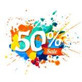 50 percents sale. Splash paint. Fifty percents sale. Vector watercolor splash paint Royalty Free Illustration