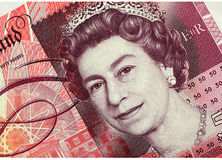 Fifty Pound Note. Detail of new English fifty pound note with portrait of Queen Elizabeth Stock Images
