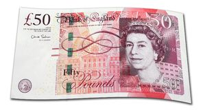 Fifty Pound Note. On white background royalty free stock images