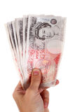 Fifty pound notes. In  hand Stock Images