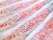 Fifty Pound Notes. Close-up of UK fifty pound notes royalty free stock photo
