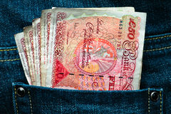 Fifty pounds currency in a pocket Royalty Free Stock Photography