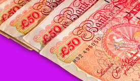 Fifty pounds sterling UK Currency. Macro shot with clipping path for easy background drop and extraction Royalty Free Stock Photos