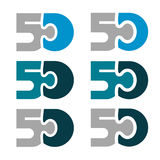 50 fifty puzzle linked number. Illustration for the web stock illustration