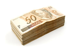 Fifty reais pile Stock Photography