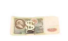Fifty ruble bill of USSR, grey background Stock Photos
