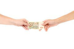 Fifty rubles in hands. Royalty Free Stock Photography