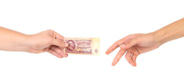 Fifty rubles in hands. Stock Images