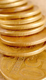 Fifty Russian Cents pile. A close up of 50 Kupik (Russian cents) pile stock photo