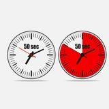 50 seconds clock on gray background. Fifty Seconds Clock on gray background. Two options.50 seconds timer. Stopwatch icon. Clock icon.  Vector illustration EPS Stock Image