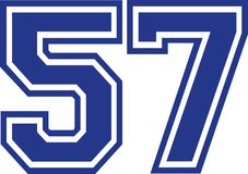 Fifty-seven college number 57. Vector Stock Image