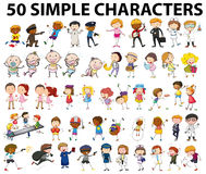Fifty simple characters doing different things. Illustration Royalty Free Stock Images