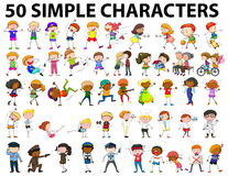 Fifty simple characters young and old. Illustration Royalty Free Stock Image