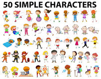 Fifty simple characters young and old. Illustration Royalty Free Stock Photography