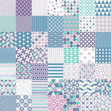 Fifty Simple Shapes Seamless Patterns Stock Image