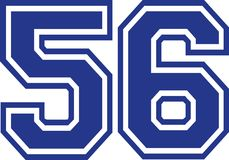 Fifty-six college number 56. Vector Stock Images