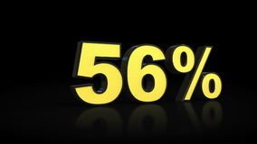 Fifty-six 56 % percent 3D rendering. Fifty-six 56 percent caption 3D rendering royalty free illustration