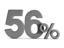 Fifty six percent on white background. Isolated 3D illustration.  Stock Photography