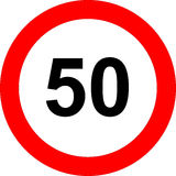 Fifty speed limit sign. Illustration of fifty kilometers or miles per hour road sign in red circle, isolated on white background Royalty Free Stock Images