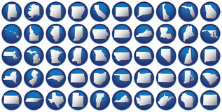 Fifty states button set Stock Images