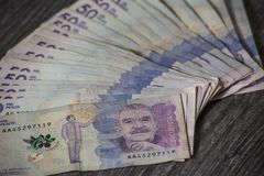 Fifty thousand banknotes used with the image of gabriel garcia marquez royalty free stock photography