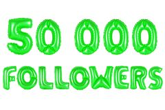 Fifty thousand followers, green color Stock Images