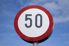 Fifty Traffic Speed Limit Sign Royalty Free Stock Photo