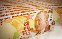 Fifty Turkish lira. 3d render Fifty Turkish lira Stacks depth of field (close-up Stock Photo