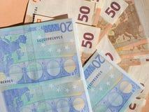 Fifty and Twenty Euro notes Stock Photos