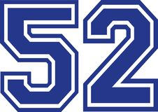 Fifty-two college number 52. Vector Royalty Free Stock Image