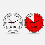 52 seconds clock on gray background. Fifty Two Seconds Clock on gray background. Two options.52 seconds timer. Stopwatch icon. Clock icon.  Vector illustration Royalty Free Stock Photo