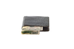 Fifty U.S. dollar in purse. Fifty U.S.dollar in purse on white background Royalty Free Stock Photo