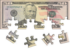 Fifty USA dollar puzzle Stock Images