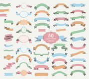 Fifty Vector Colorful Hand Drawn Ribbons, Banners, Frames Stock Image