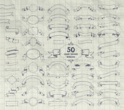 Fifty Vector Pen Drawing Ribbons, Banners, Frames Stock Photo