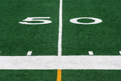 Fifty Yard Line. The fifty yard line on a football field Stock Images