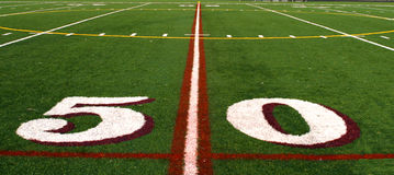Fifty yard line. Of a football field Royalty Free Stock Photos