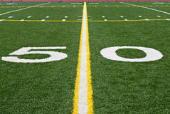 Fifty Yard Line. Of an American football field royalty free stock image