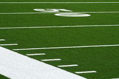 Fifty Yard Line. An abstract view of the 50 yard line of a football field Stock Image