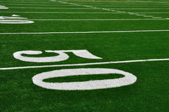 Fifty Yard Line on American Football Field Stock Photos