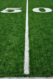 Fifty Yard Line on American Football Field Royalty Free Stock Photography