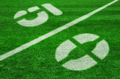 Fifty yard line-diagonal Stock Photos