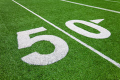Fifty yard line - football field Royalty Free Stock Photography