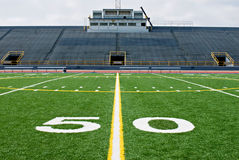 Fifty Yard Line With Bleachers Royalty Free Stock Photo