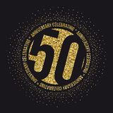Fifty years anniversary celebration golden logotype. 50th anniversary gold logo. Vector Royalty Free Stock Photography