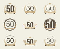 Fifty years anniversary celebration logotype. 50th anniversary logo collection. Fifty years anniversary celebration logotype Royalty Free Stock Photos