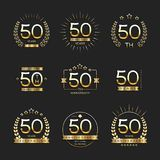 Fifty years anniversary celebration logotype. 50th anniversary logo collection. Vector Royalty Free Illustration