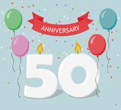 Fifty years anniversary greeting card with candels. Confetti and balloons Royalty Free Stock Photography