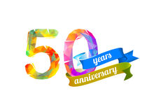 50 fifty years anniversary. Vector triangular digits Stock Photos