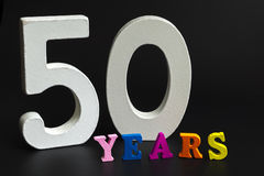 Fifty years. Figures and year on a black background Royalty Free Stock Photography